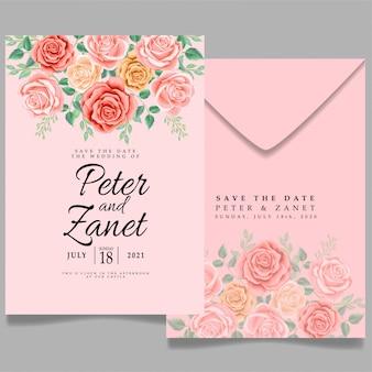 Schöne rose hochzeit ereignis einladung bearbeitbare vorlage weibliches thema