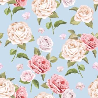 Schöne rosen und blätter nahtlose muster