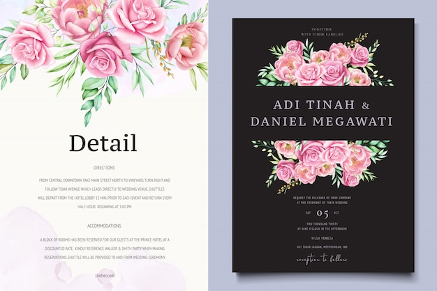 Schöne rosen und pfingstrosen auf hochzeitskartenschablone