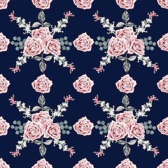 Schöne rosen-weinleseblumen des nahtlosen musters