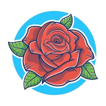 Schöne rosenblütenillustration. red rose logo-konzept. rosenblüten-maskottchen-logo. flacher cartoon-stil.