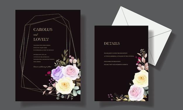 Schöne rosenblumeneinladungskartenschablonendesigns