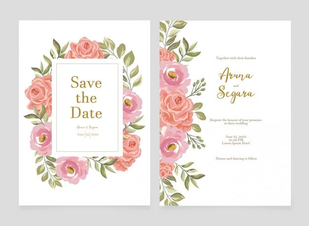 Schöne rosenblumenhochzeitseinladungsset kartenvorlage
