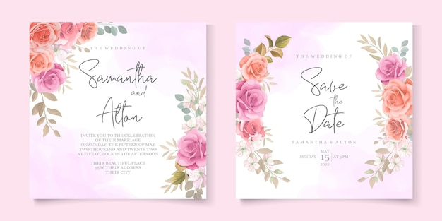Schöne rosenhochzeitseinladungskartenschablone