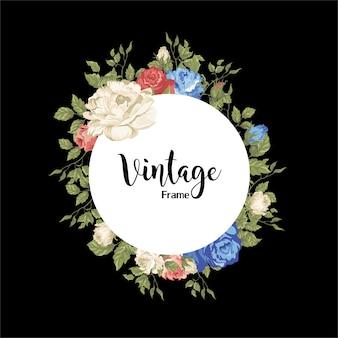 Schöne rosenrahmen mit vintage-motiven