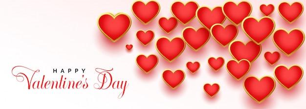 Schöne rote herzen für glücklichen valentinstag