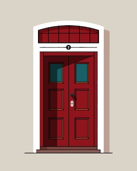 Schöne rote retro vintage haustür. haus außen. haupteingang. farbig.