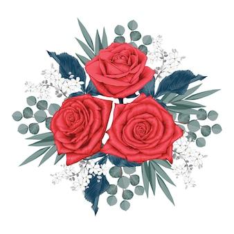 Schöne rote rose blüht blumenstrauß auf lokalisiert