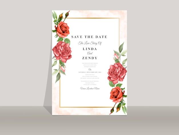 Schöne rote rosenhochzeitseinladungsschablone