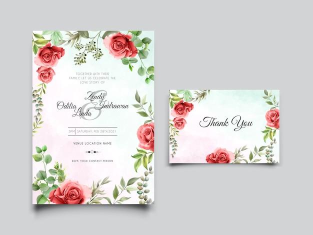 Schöne rote rosenillustrationshochzeitseinladungskarte