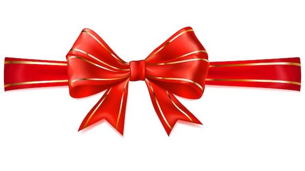 Schöne rote schleife mit horizontalem band mit goldenen streifen mit schatten