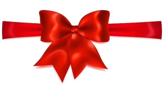 Schöne rote schleife mit horizontalem band mit schatten