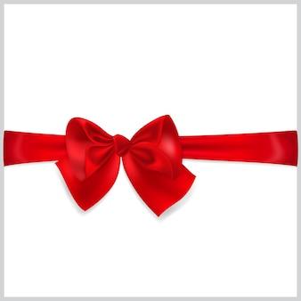 Schöne rote schleife mit horizontalem band