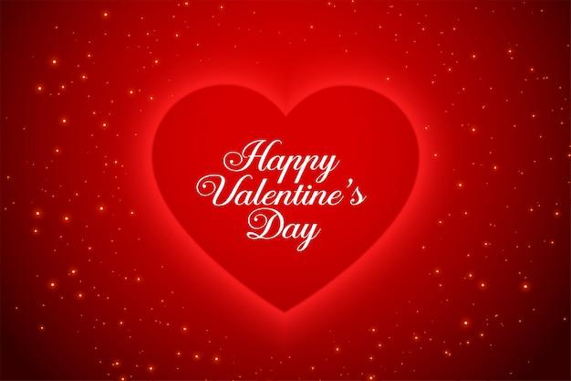 Schöne rote valentinstag funkelt grußkarte