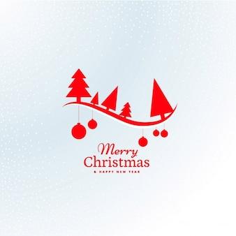Schöne rote weihnachtsbaum und hängen kugeln