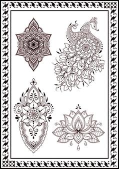 Schöne sammlung von blumen pfauen zeichnung und henna tattoos. orientalische ethnische artdekoration indien-schwarzfarbe