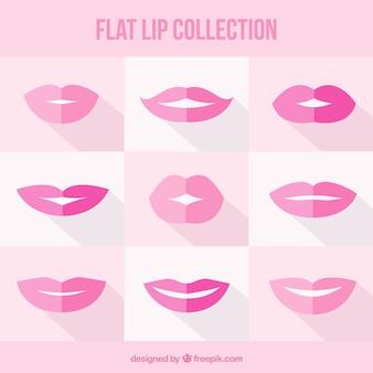 Schöne sammlung von flachen lippen
