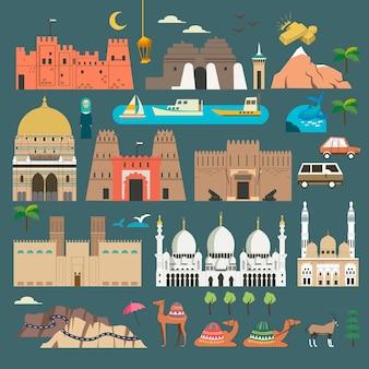 Schöne sammlung von reiseelementen aus den vereinigten arabischen emiraten