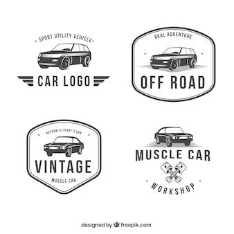 Schöne sammlung von vintage-logos mit autos