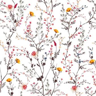 Schöne sanfte botanische blumen, die gartenstimmung blühen nahtloses muster