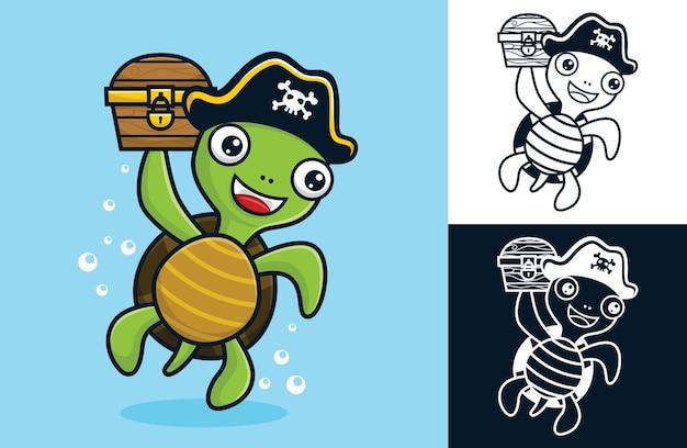 Schöne schildkröte mit piratenhut, während sie eine schatztruhe hält. vektorkarikaturillustration in der flachen ikonenart