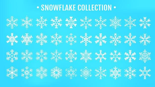 Schöne schneeflockendesignkollektion für die wintersaison, die mit weihnachten im neuen jahr kommt.