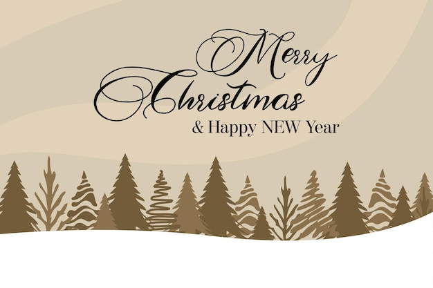 Schöne schneelandschaft marry christmas beige vektorhintergrund mit vielen weihnachtsbäumen