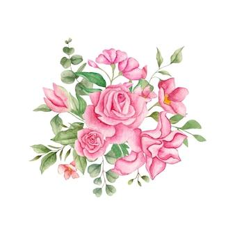 Schöne schöne aquarellblumen- und blätterblumenstraußdekoration
