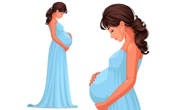 Schöne schwangere frau, die langes himmelblaues kleid trägt, das ihren bauch hält