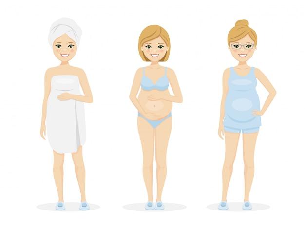 Schöne schwangere frau in unterwäsche, kurzen kleidern und nach der dusche.