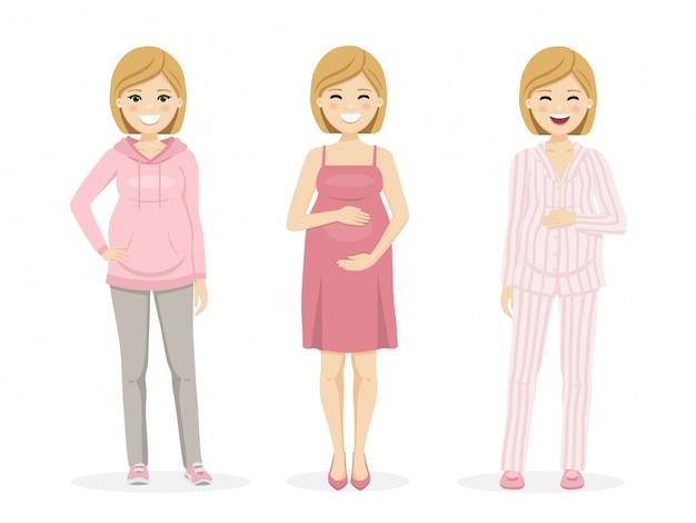 Schöne schwangere frau mit sportbekleidung, kleid und pyjama.