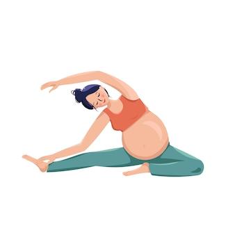 Schöne schwangere frau treibt sport und kümmert sich um den körper