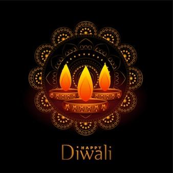 Schöne schwarze glückliche diwali abbildung mit drei diya
