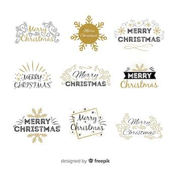 Schöne schwarze und goldene weihnachtsabzeichensammlung
