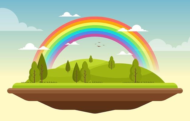 Schöne schwimmende landschaft regenbogen sommer natur illustration