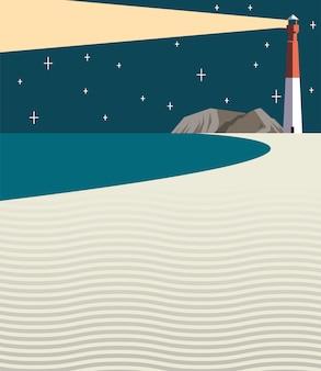 Schöne seelandschaftsnachtszene mit leuchtturmvektorillustrationsentwurf