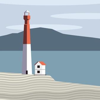 Schöne seelandschaftsszene mit haus- und leuchtturmvektorillustrationsentwurf