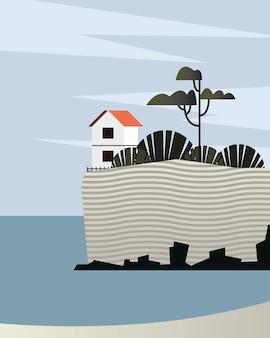 Schöne seelandschaftsszene mit hausvektorillustrationsentwurf