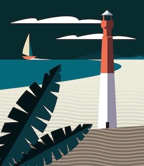 Schöne seelandschaftsszene mit segelboot- und leuchtturmvektorillustrationsdesign