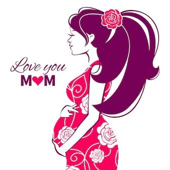 Schöne silhouette der schwangeren frau
