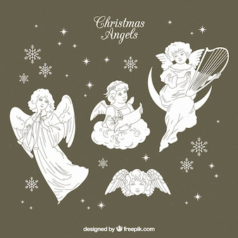 Schöne skizzen von weihnachtsengel