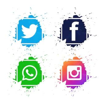 Schöne social media-ikonen stellten designvektor ein
