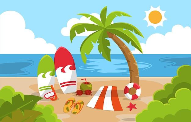 Schöne sommer-strand-meer-natur-exotische ferien-illustration