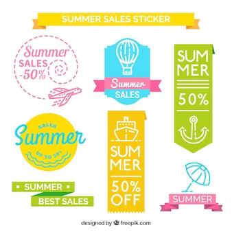 Schöne sommer-verkaufs-aufkleber