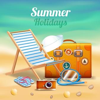 Schöne sommerferien realistische komposition
