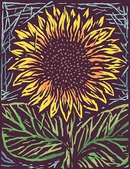 Schöne sonnenblume gravieren karikatur-art-illustration
