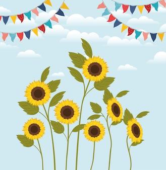 Schöne sonnenblumengarten- und -girlandenszene