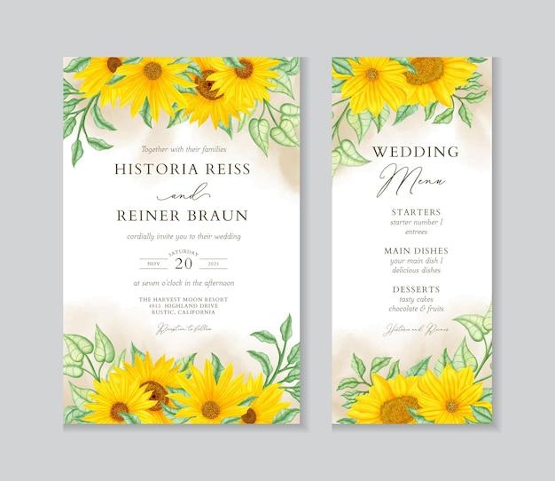 Schöne sonnenblumenhochzeitseinladung und menüvorlage