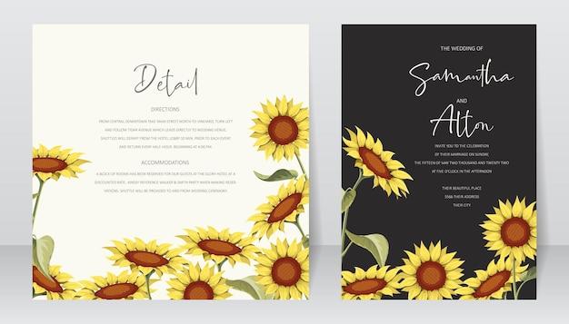 Schöne sonnenblumenhochzeitseinladungskartenschablone Premium Vektoren