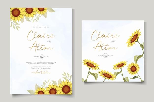 Schöne sonnenblumenhochzeitseinladungskartenschablone